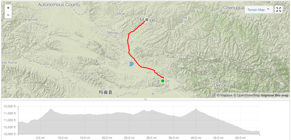 Langmusi to Ma'nge cycle route Strava