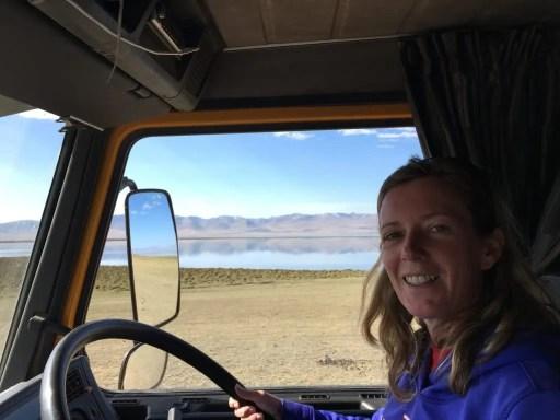 Driving an overlanding truck in Kyrgyzstan