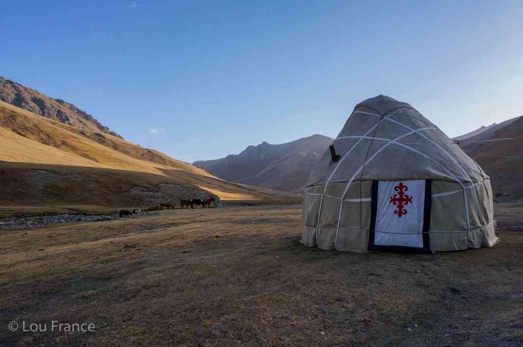 If you visit Kyrgyzstan you should stay in a yurt like this one in a remote location surrounded my mountains