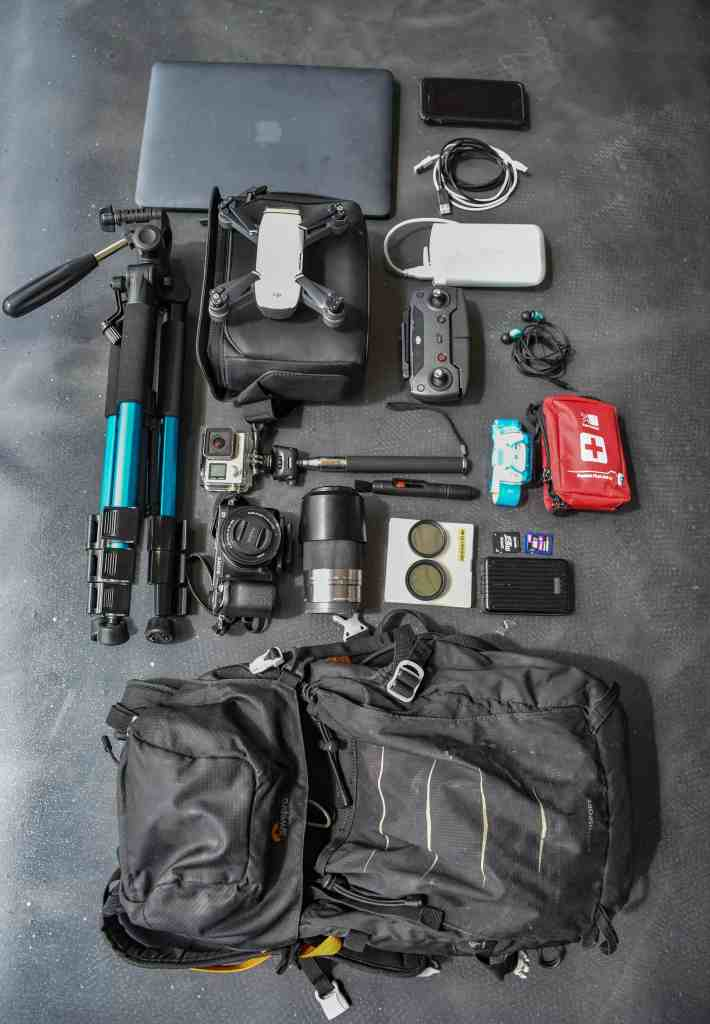 Essential items for a photography hike