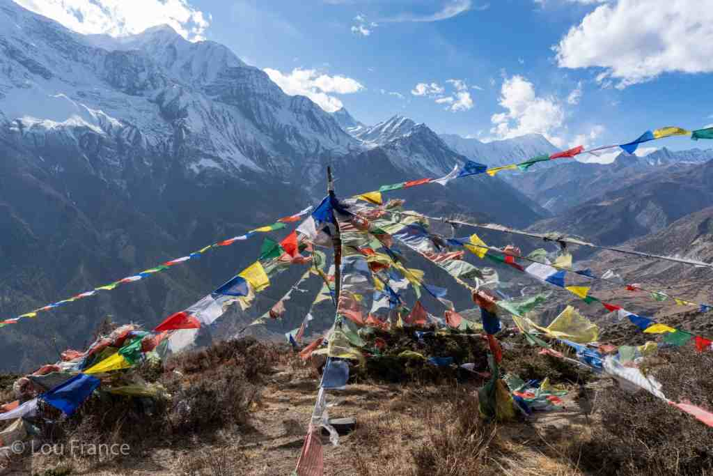 Prayer flags along the ice lake trek, Manang