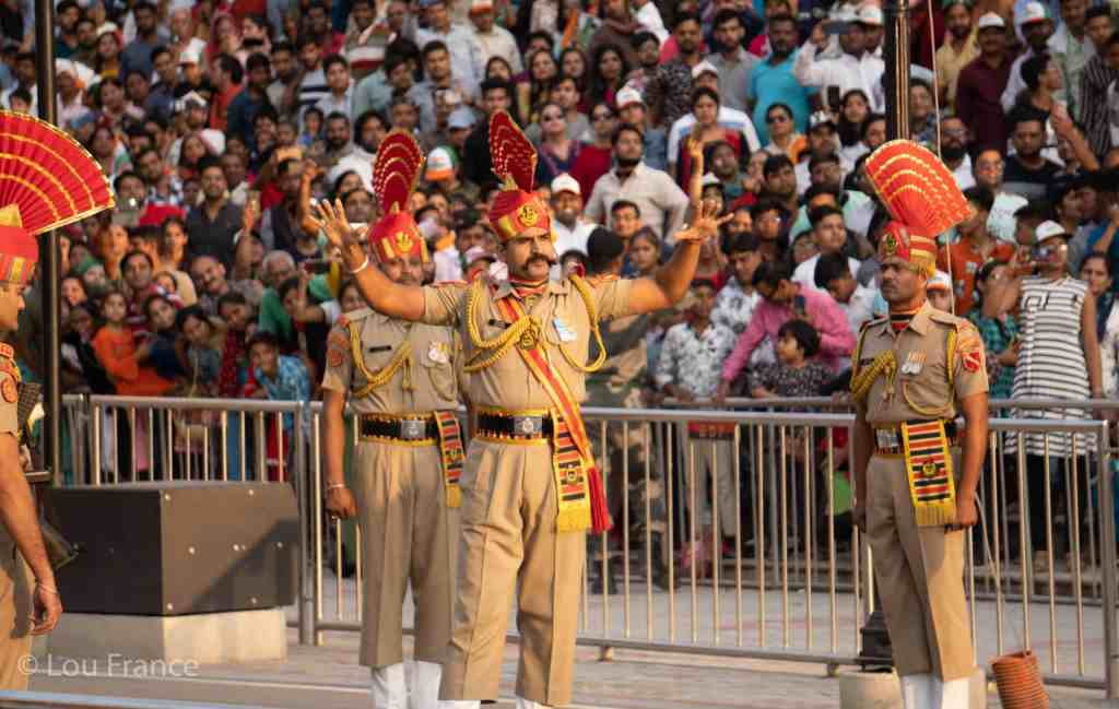 India border officials/performers at the Wagah border ceremony