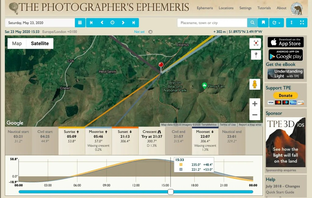 The Photographers Ephemeris is one of the best apps for landscape photographers