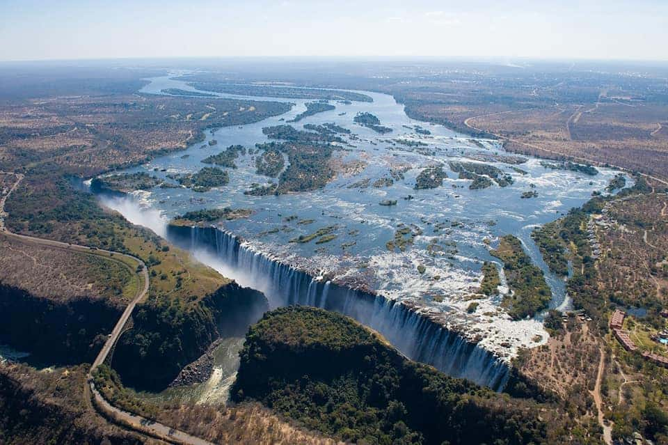 Victoria Falls from above which is one of the most beautiful waterfalls in the world