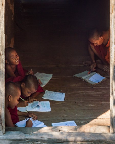 Young monks studying, Myanmar by Wandering Wheatleys