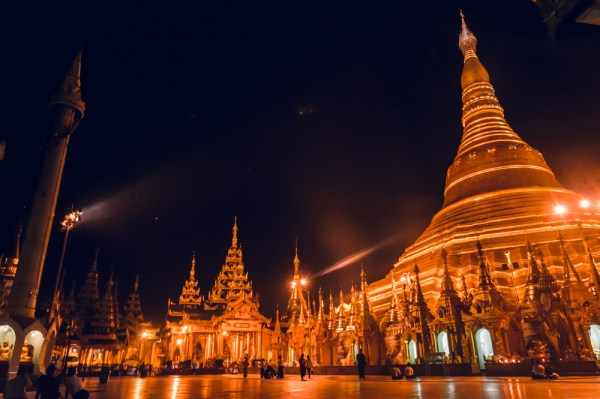 Shwedagon Pagoda at night, Yangon, Myanmar by Wandering Wheatleys
