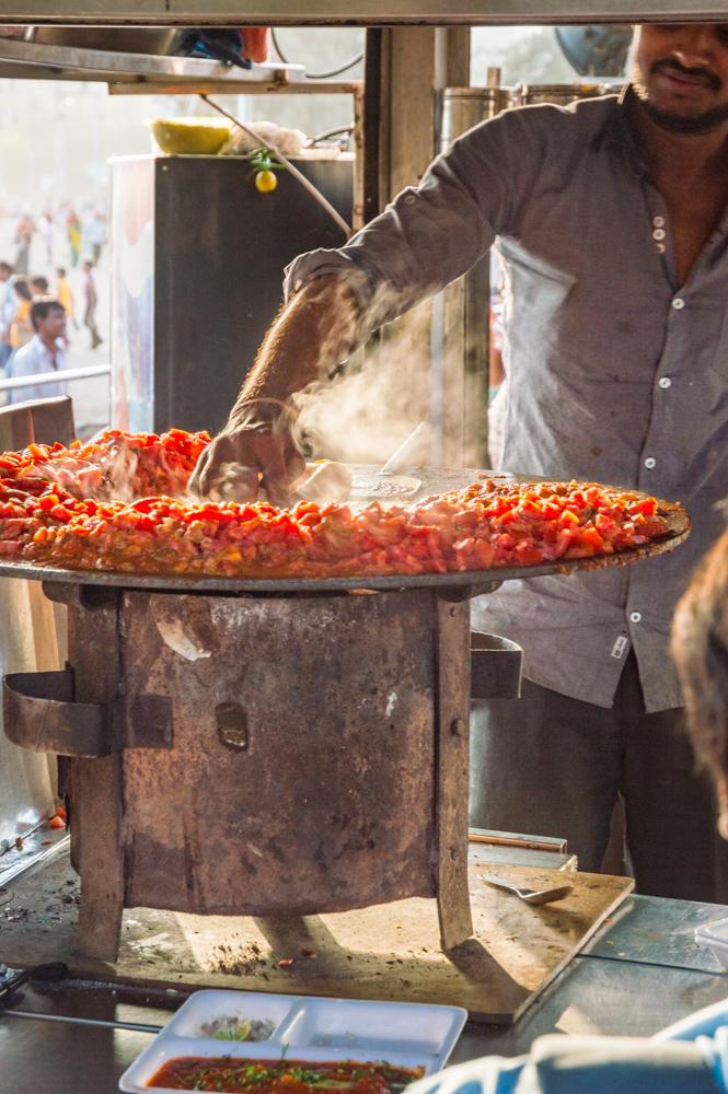 Pav Bhaji, Street Food in Mumbai, India