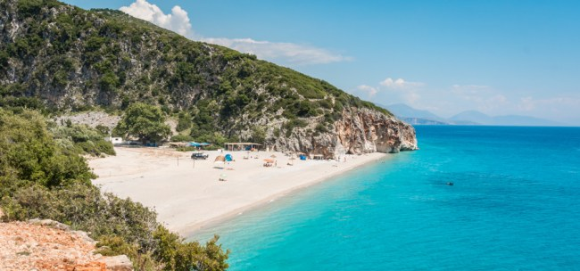 Beautiful Albanian beach with turquoise water