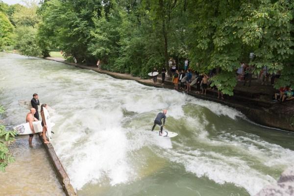 Surfing in Englischer Garten, Munich, Germany by Wandering Wheatleys