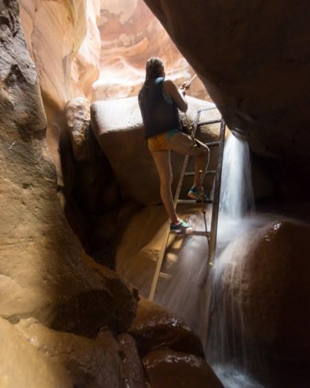 Climbing ladders in Wadi Mujib, Jordan by Wandering Wheatleys