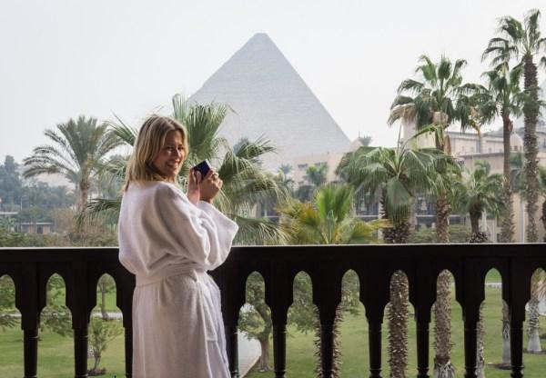 Pyramid views from the balcony at Mena House, Giza, Egypt