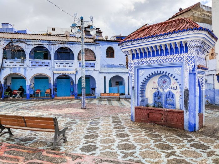 Courtyard in Chefchaouen, Morocco by Wandering Wheatleys