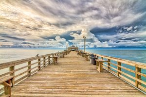 A view down the Cherry Grove Pier in North Myrtle Beach SC.