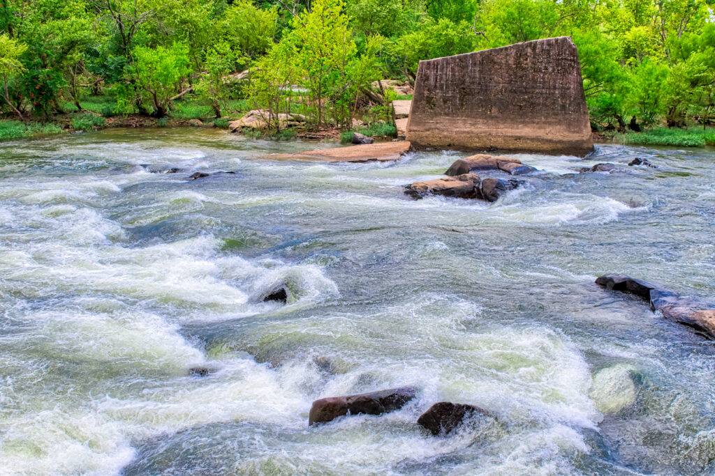 Rushing water in the James River rapids