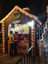 Street food stand dressed up as a gingerbread house