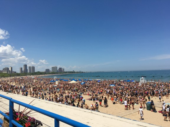 The insane crowds Memorial Day Weekend on North Avenue Beach.