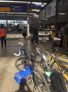 At the train station with all our belongings!