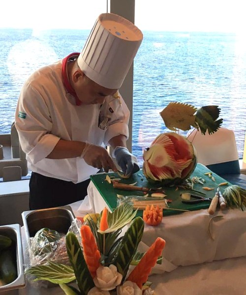 Cruise Chef Carving Fruit