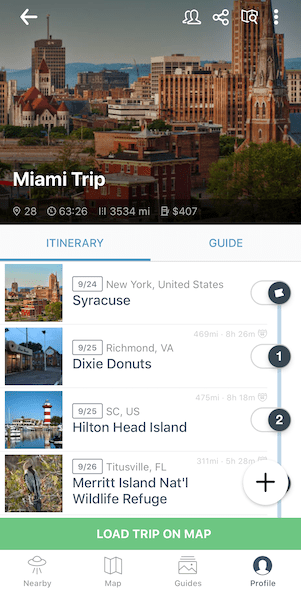 Travel Apps - Roadtrippers Trip Screenshot
