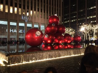 NYC Red Ornaments Night - Christmas in New York City
