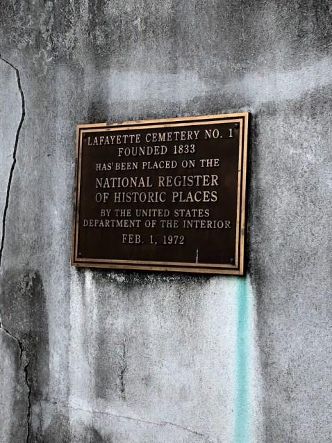 New Orleans - Lafayette Cemetery Plaque