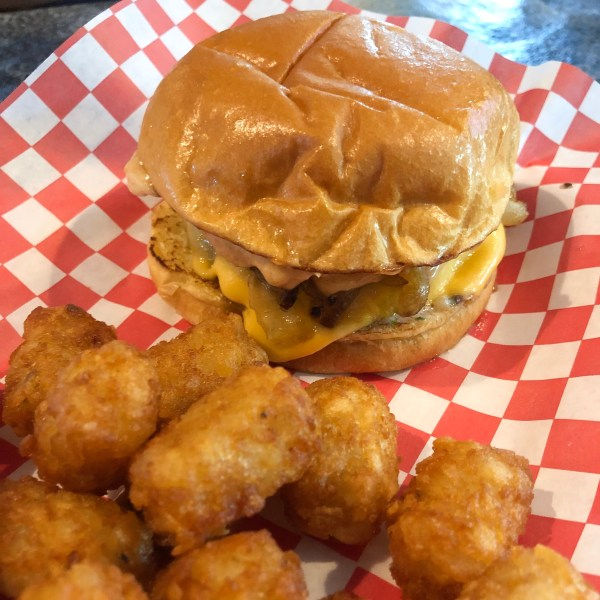 Snortin Boar Burger and Tots