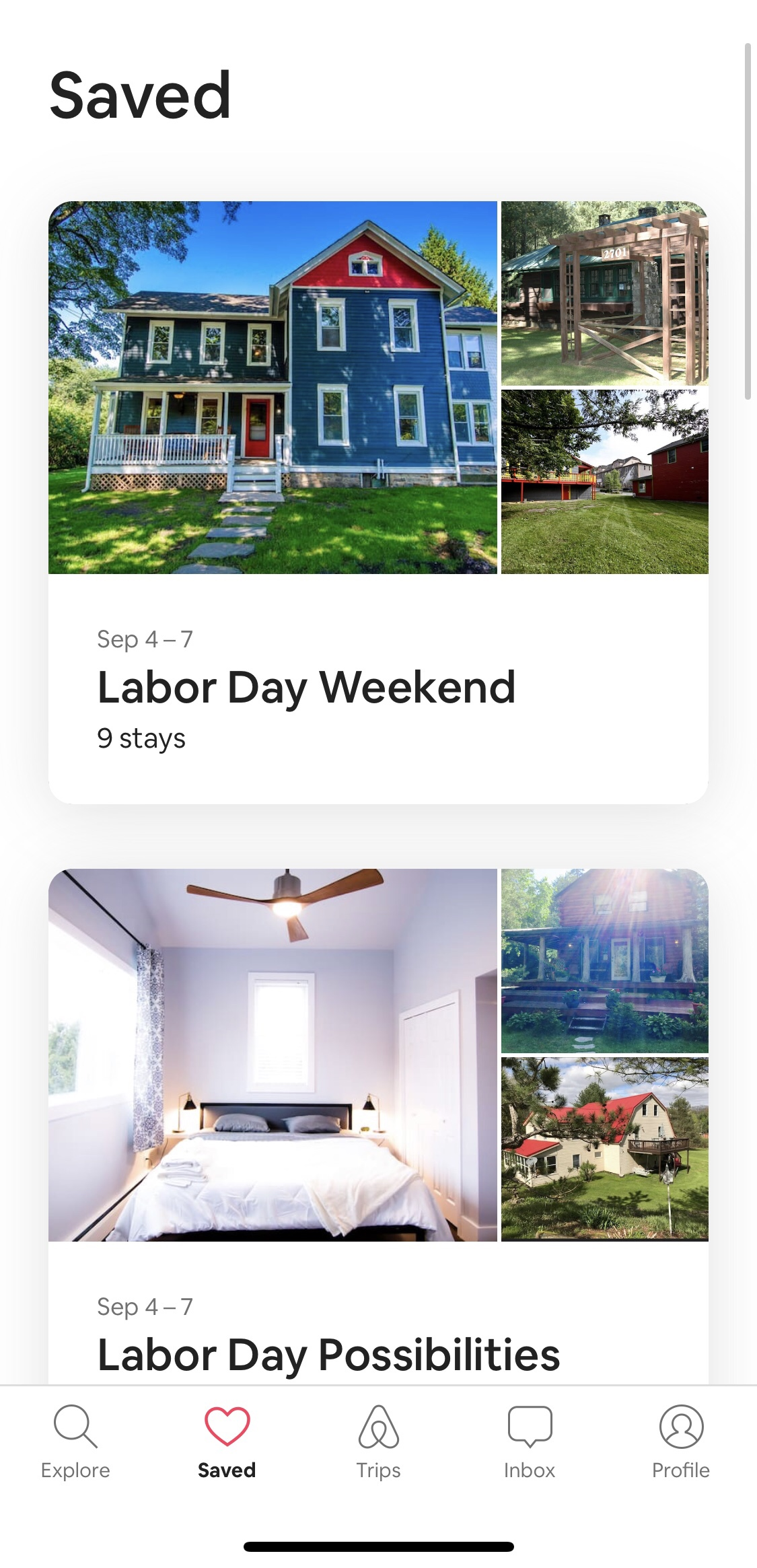 AirBnB Saved Lists
