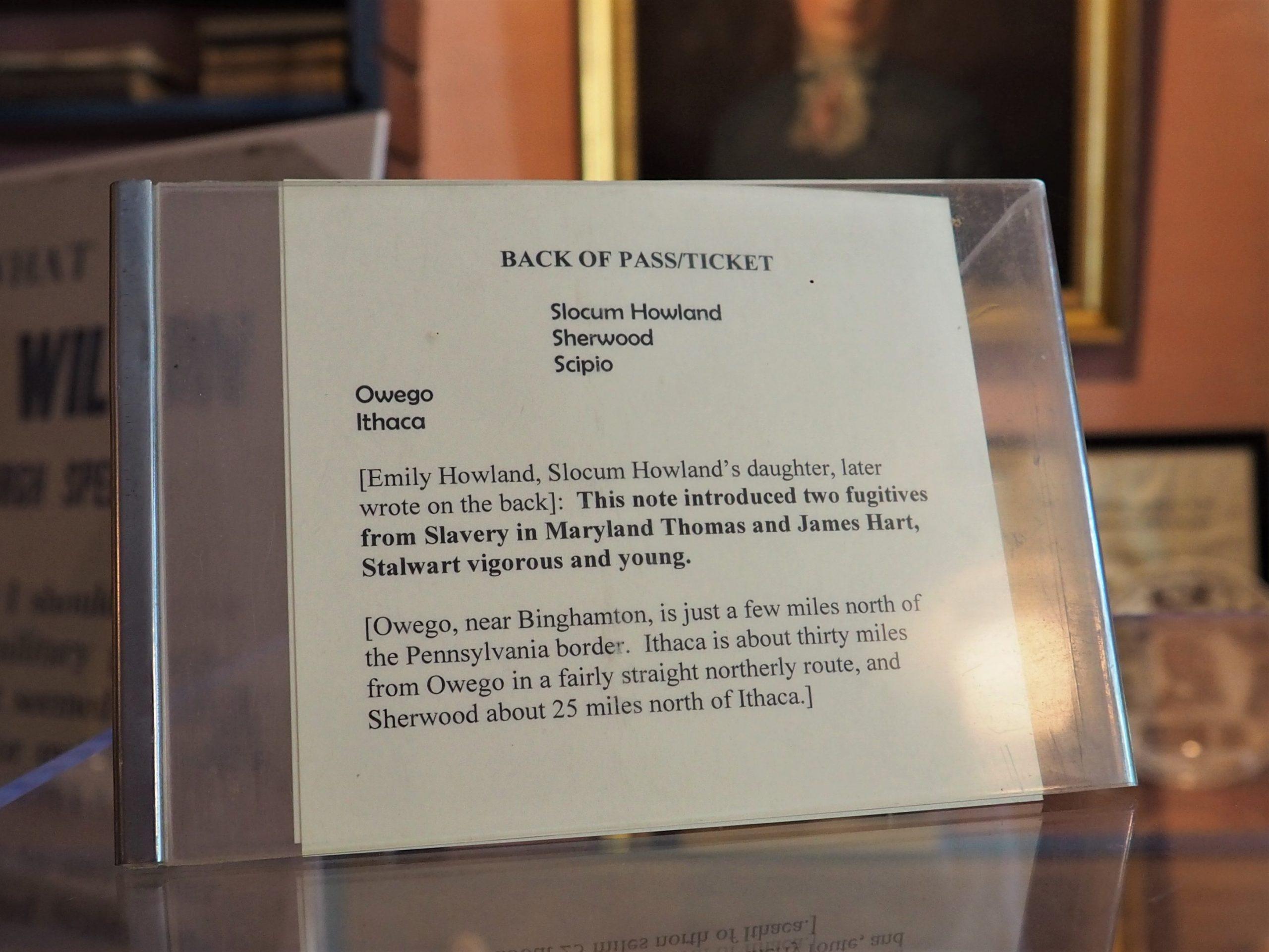 Underground Railroad Ticket at Howland Museum