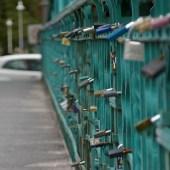 Locks on foot bridge over Odra river.