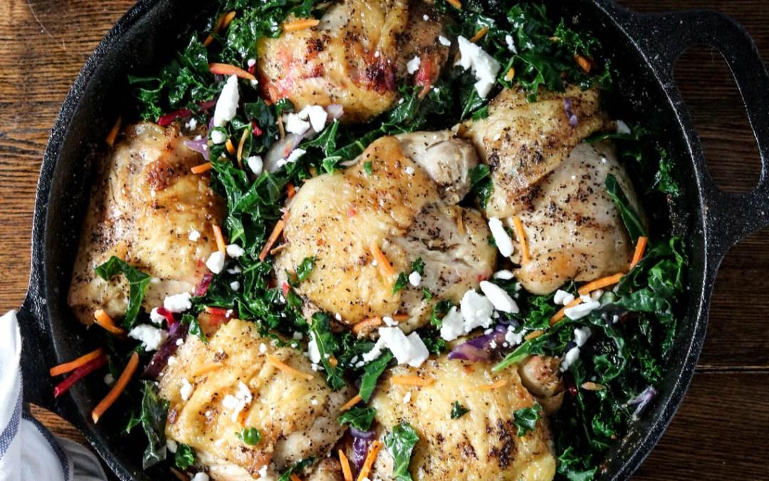 Cracklin' Chicken with Braised Greens