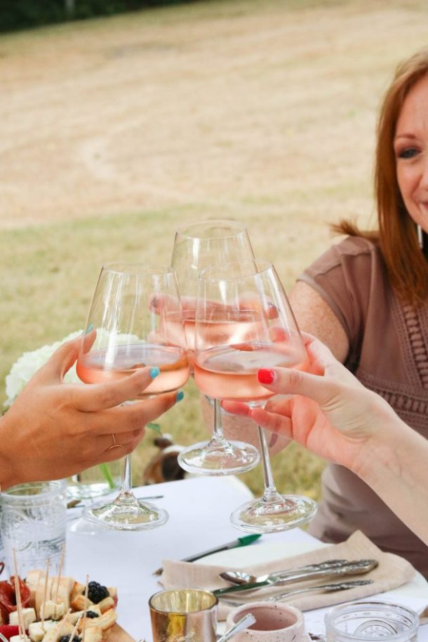 guests toasting glasses of rosé