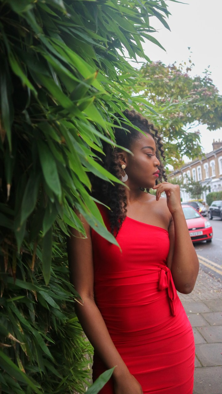 Wearing the Femme Luxe Red One Shoulder Slinky Midi Dress