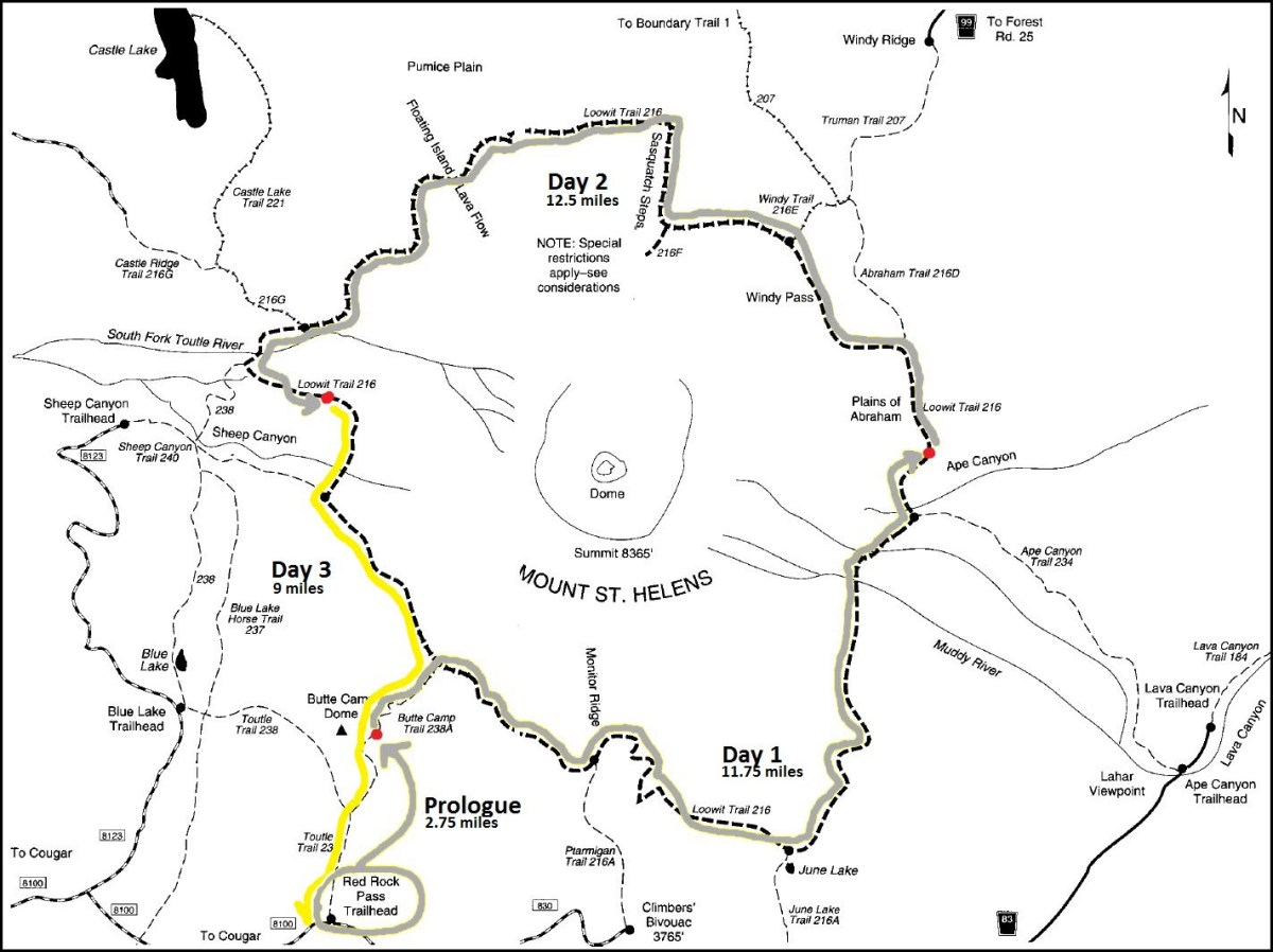 Day 3 - Loowit Trail Map