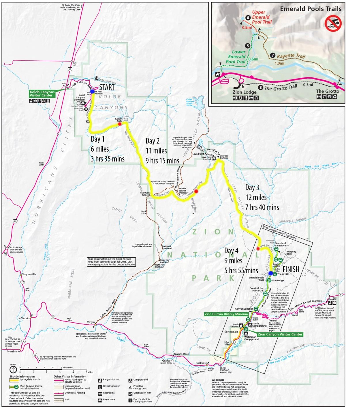 Zion Park Map - Complete