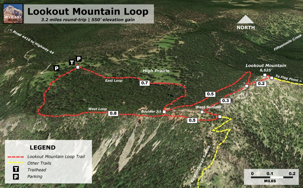Lookout Mountain Loop Trail Map - Brought to you by WyEast blog.