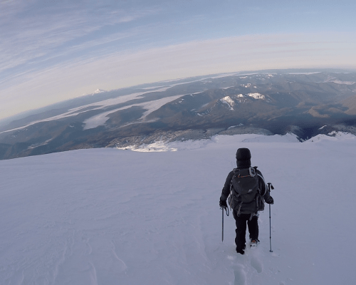 Climbing down the south slope of Mt Hood.
