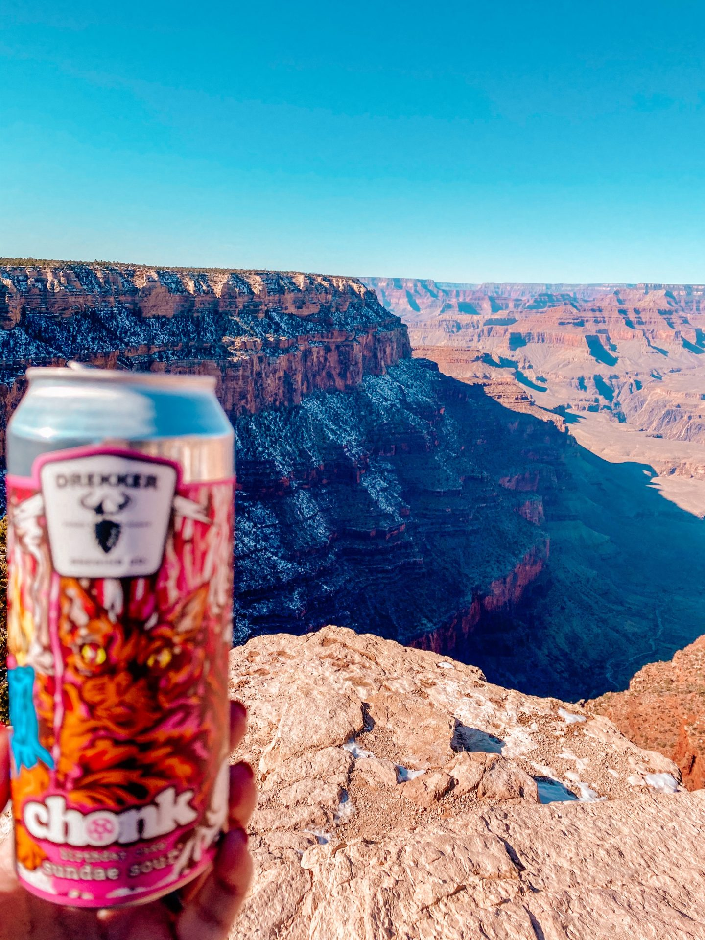 A can of beer held up to the Grand Canyon .