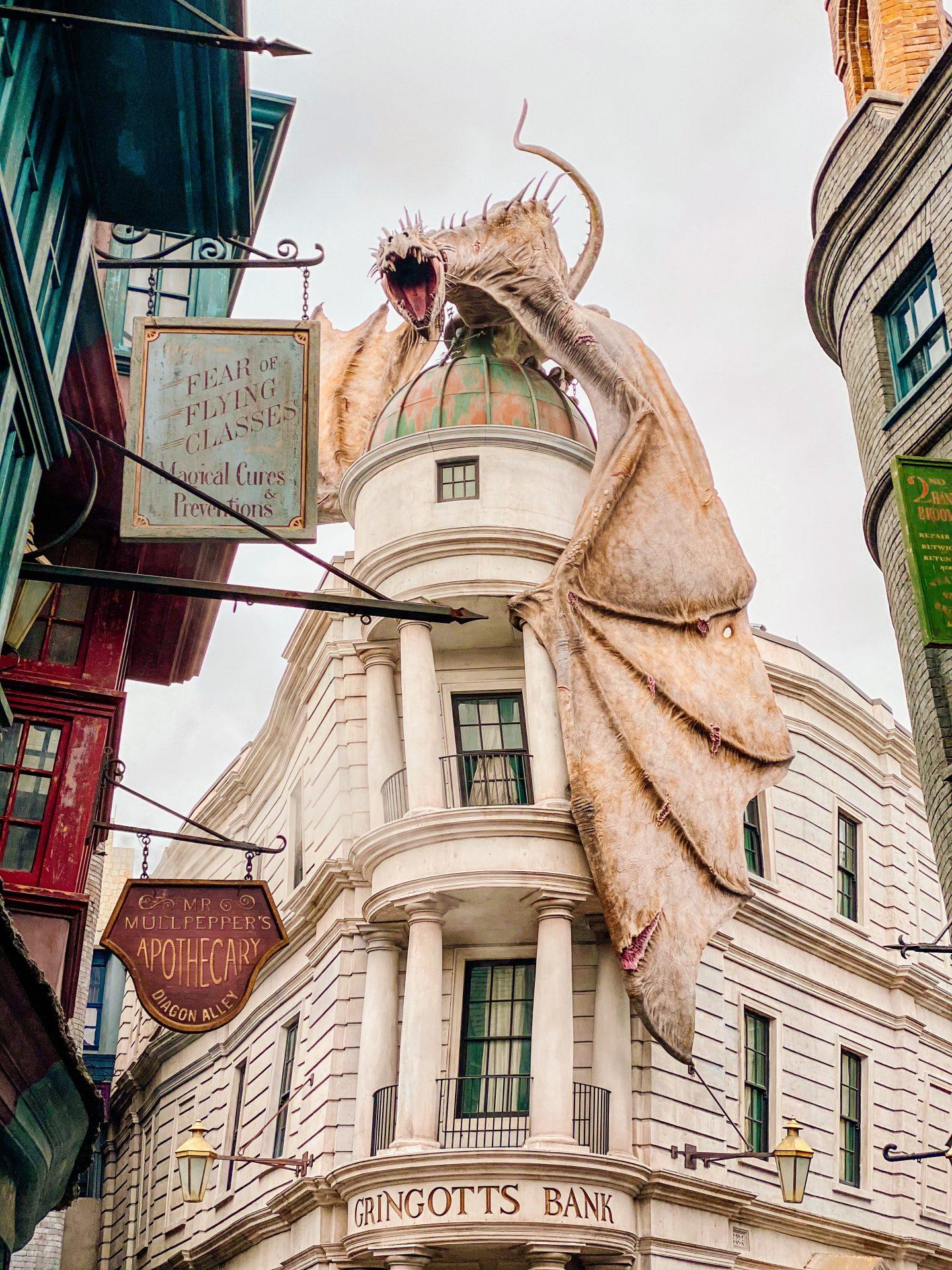dragon on top of gringotts bank in diagon alley at universal studios orlando florida