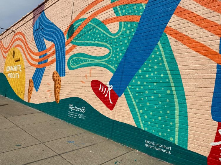 Looking pretty music city mural located in Nashville Tennessee