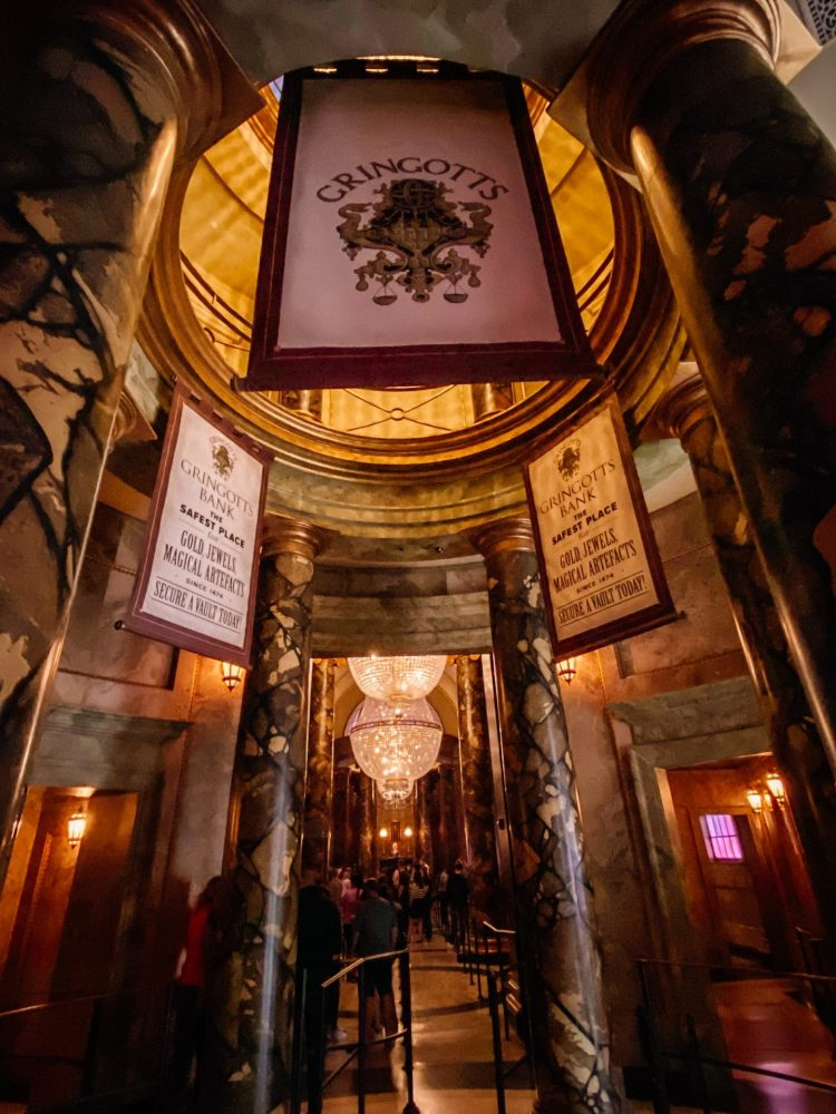 walking into the ride within gringotts at the wizarding world of harry potter at universal studios orlando florida