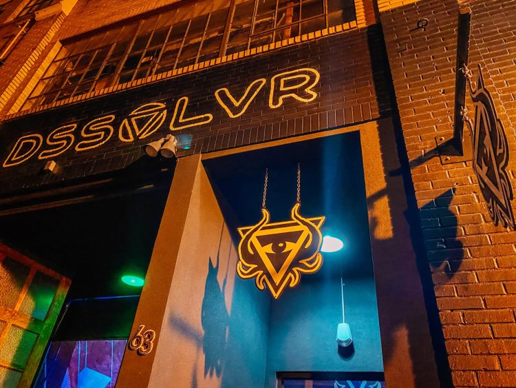 front door of Dssolvr brewery located in south slope asheville north carolina