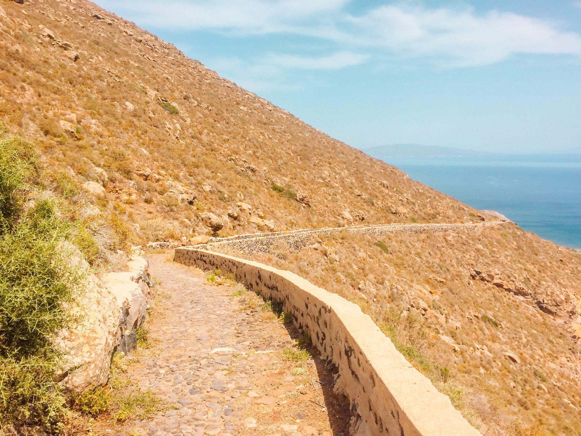 The path along the caldera on Santorini Greece