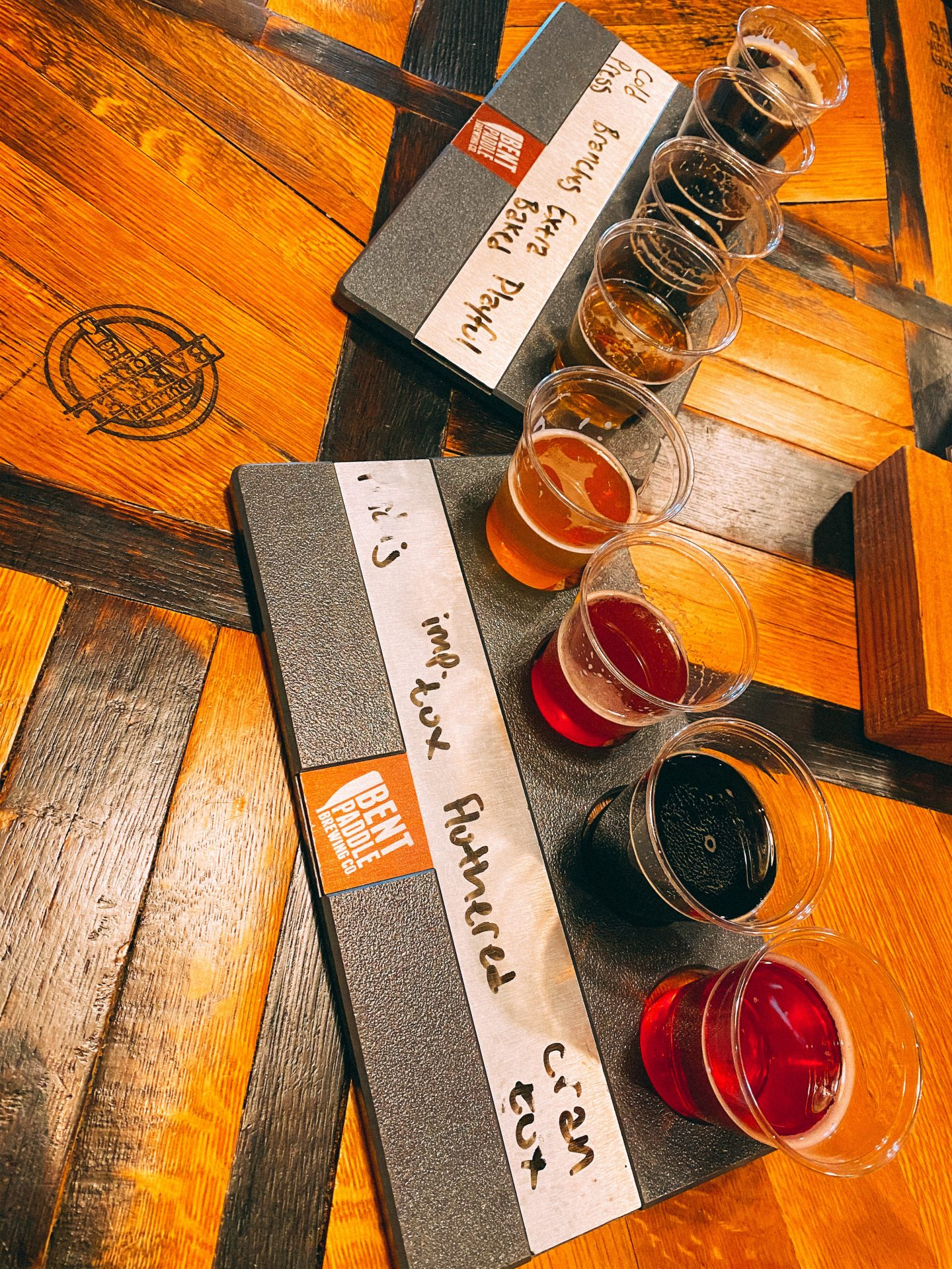 two flights of beer at bent paddle taproom in Duluth MN