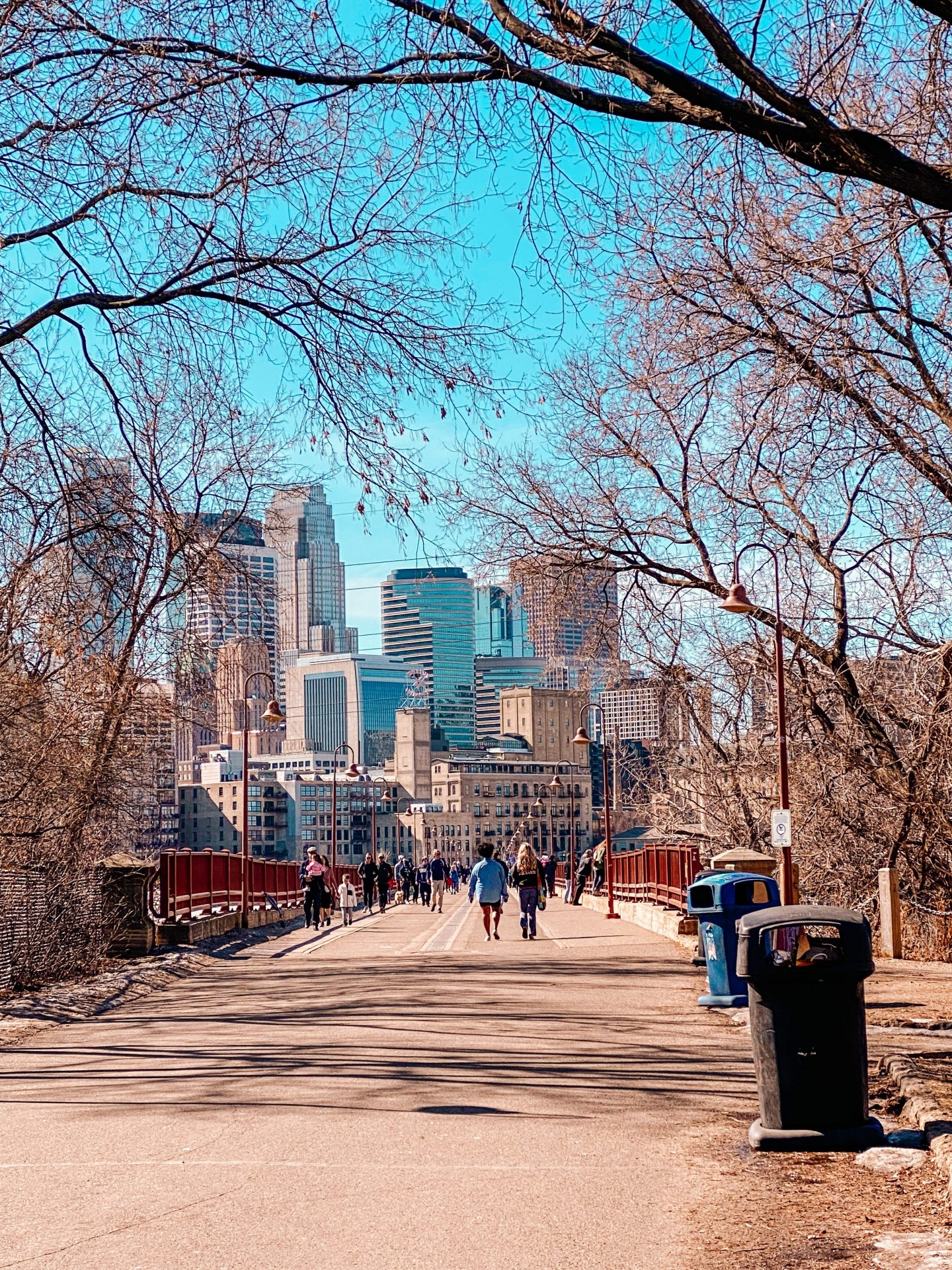 View of downtown Minneapolis from the Stone Arch pedestrian bridge