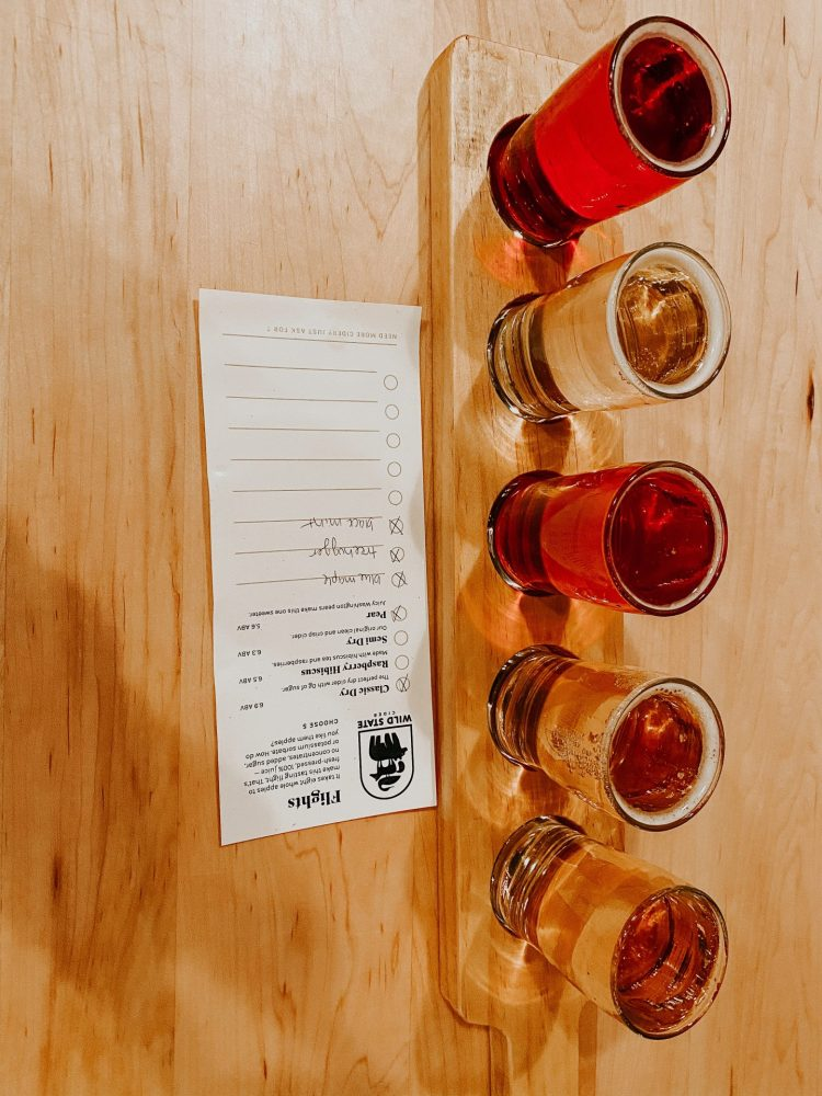 flight of ciders at wild state cider taproom one of the best breweries in duluth MN