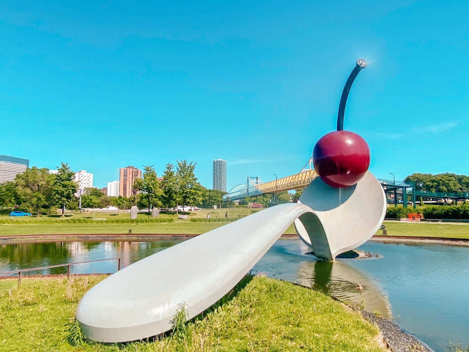 Spoon and cherry sculpture located at Walker art center sculpture garden in Minneapolis, Minnesota