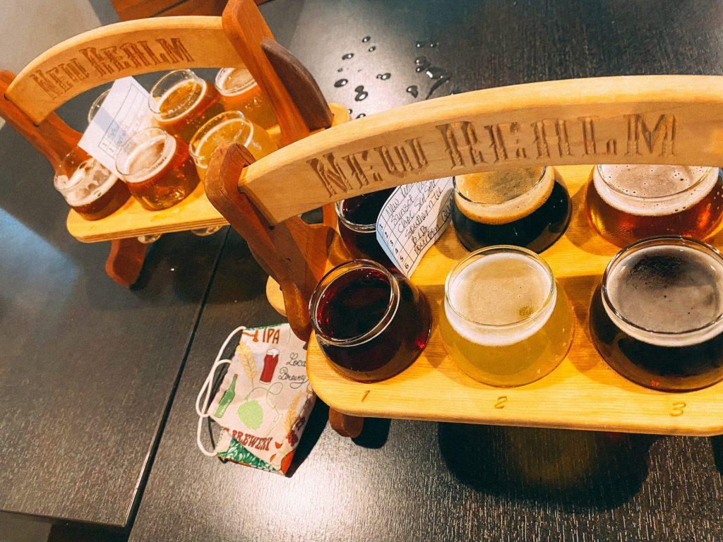 Beer flights at New Realm Brewing Company