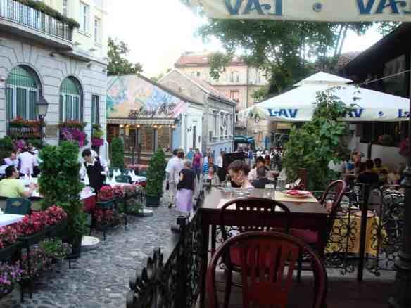 Lovely flowers, great food, live traditional Serbian music, sociable crowds and good hospitality adorn Belgrade's Skadarlija district. American in Belgrade