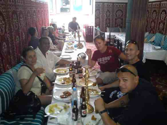 Our friends enjoy their traditional Moroccan lunch...before the hell began...
