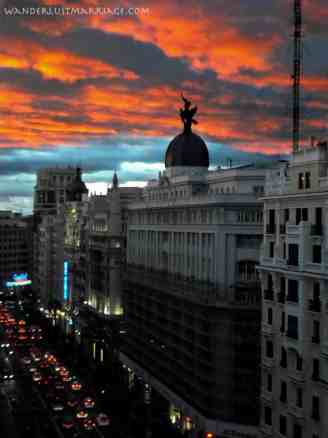 View from a budget hotel we stayed at in Madrid on the Gran Via. Combined with cheap Ryanair tickets= fantastic value!
